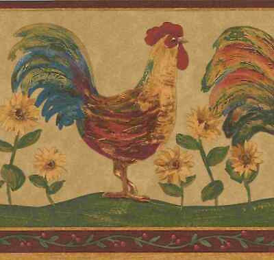 ROOSTERS CHICKENS WITH BLACK BACKGROUND WALLPAPER BORDER  CH49073