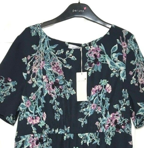 M&S Marks Dark bluee Ladies PerUna Crepe Feel Floral Tunic Shift Dress s16 BNWT