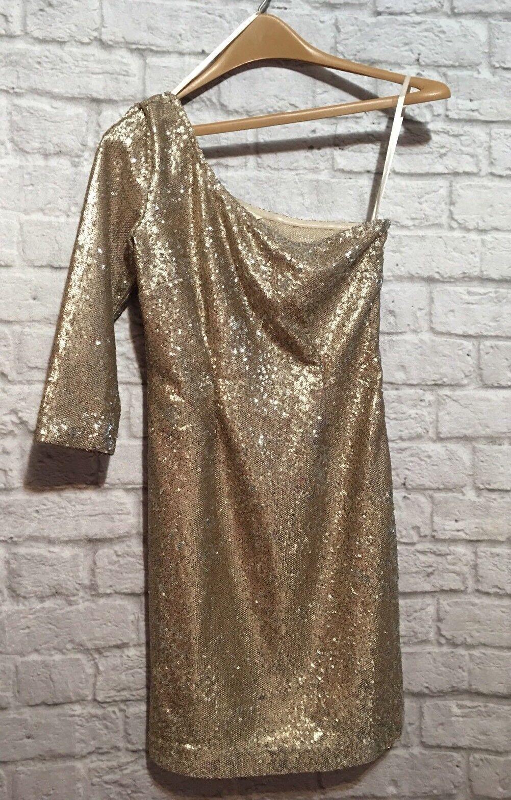 BB Dakota gold Sequin Off Shoulder Evening Dress Women's Size 2 (Nordstrom) EUC