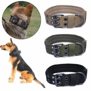 Military-Tactical-Adjustable-Dog-Training-Collar-Nylon-Leash-MetalBuckle-M-XL