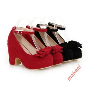 4a8a4f648cc Lolita Mary Jeans Bow Tie Womens Ankle Strappy Block Heels Sweet ...