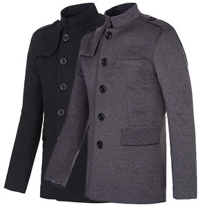 Formal-Busienss-Mens-Trench-Coat-Double-Breasted-Blazer-Jacket-Peacoat-Overcoat