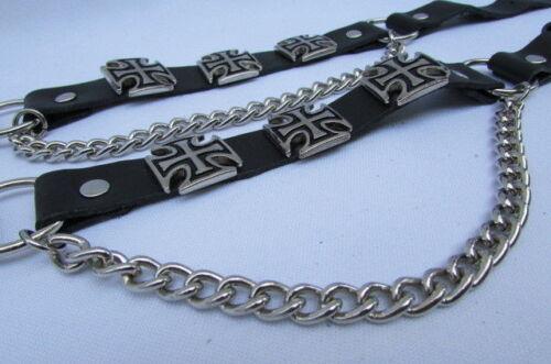Biker Herren Stiefel Silber Ketten Paar Lederriemen Motorrad Armband Eisen Kreuz
