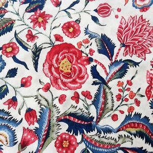 110cm wide Yellow Floral Cotton Fabric Cream