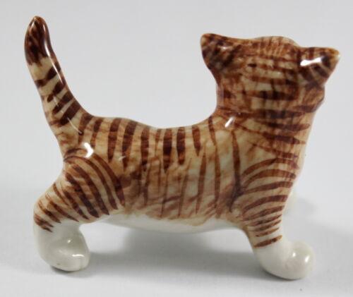 Orange Brown Cat Ceramic Figurine Miniature Handcraft Pet Animal Decor Tiger New