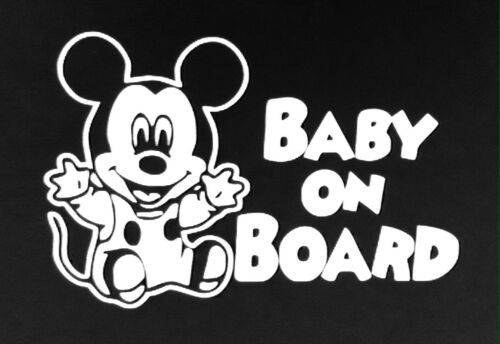 Mickey Mouse Baby on Board window vinyl decal