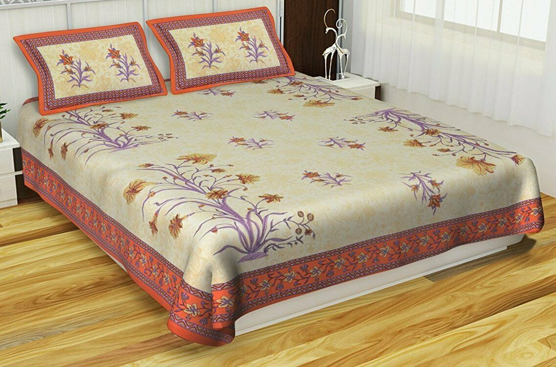 Gelb Jaipuri Bedruckte Baumwolle Doppel Bett Blatt Mit 2 Kissenbezug 90x108