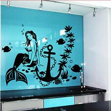 Wall Decal Mermaid Fish Anime Girl Stickers Marine Design Room Decor D528
