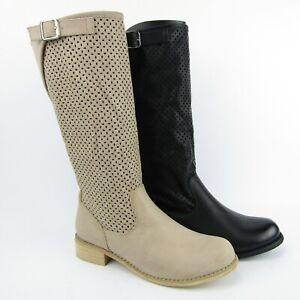 stivali-donna-estivi-traforati-beige-neri-tacco-largo-3-cm-ecopelle-biker-cowboy