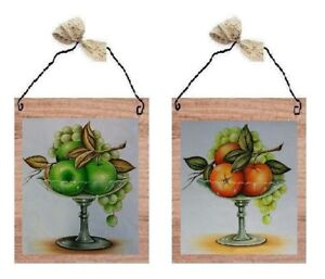 Details about 💗 Green Apple & Orange Pictures Fruit Kitchen Decor Wall  Hangings Plaques