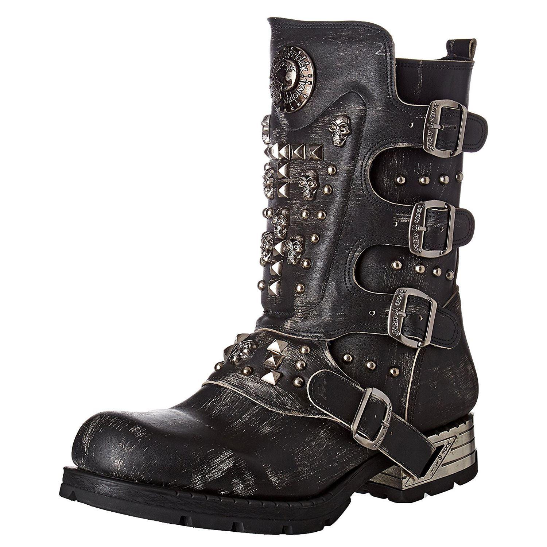 New Rock M.MR019-S2 Black Mens Leather Mid Calf Goth Punk Boots
