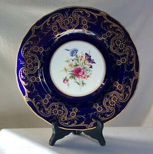 Royal-Worcester-dinner-plate-Gold-design-on-cobalt-blue-band-HP-flowers-10-1-2-034
