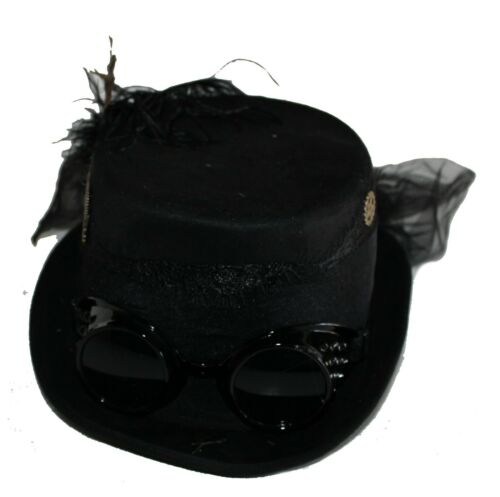 Deluxe Velvet 4.25 Inch Steampunk Top Hat with Removable Goggles and Feathers