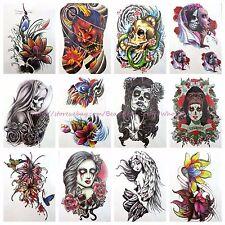 "10 sheets large 8.25"" temporary arm tattoo wholesale flower sugar skull tattoo"
