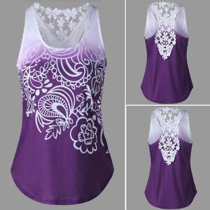d944e553a Summer Women Lace Sleeveless T-Shirt Blouse Floral Casual Loose Tank ...