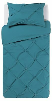 Heart of House Hadley Teal Pintuck Bedding Set Single Bed Duvet Cover Pillowcase