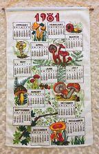 1981 Vintage Linen Calendar Kitchen Tea Towel Mushrooms