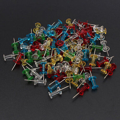 100x Bunt Reißnägel Reißzwecken Heftzwecken Pin Pinnwandnadeln Pinnadeln