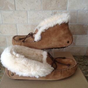 deb1a9e7922 Details about UGG Alena Chestnut Suede Sheepskin Cuff Moccasins Slippers  Size US 8 Womens