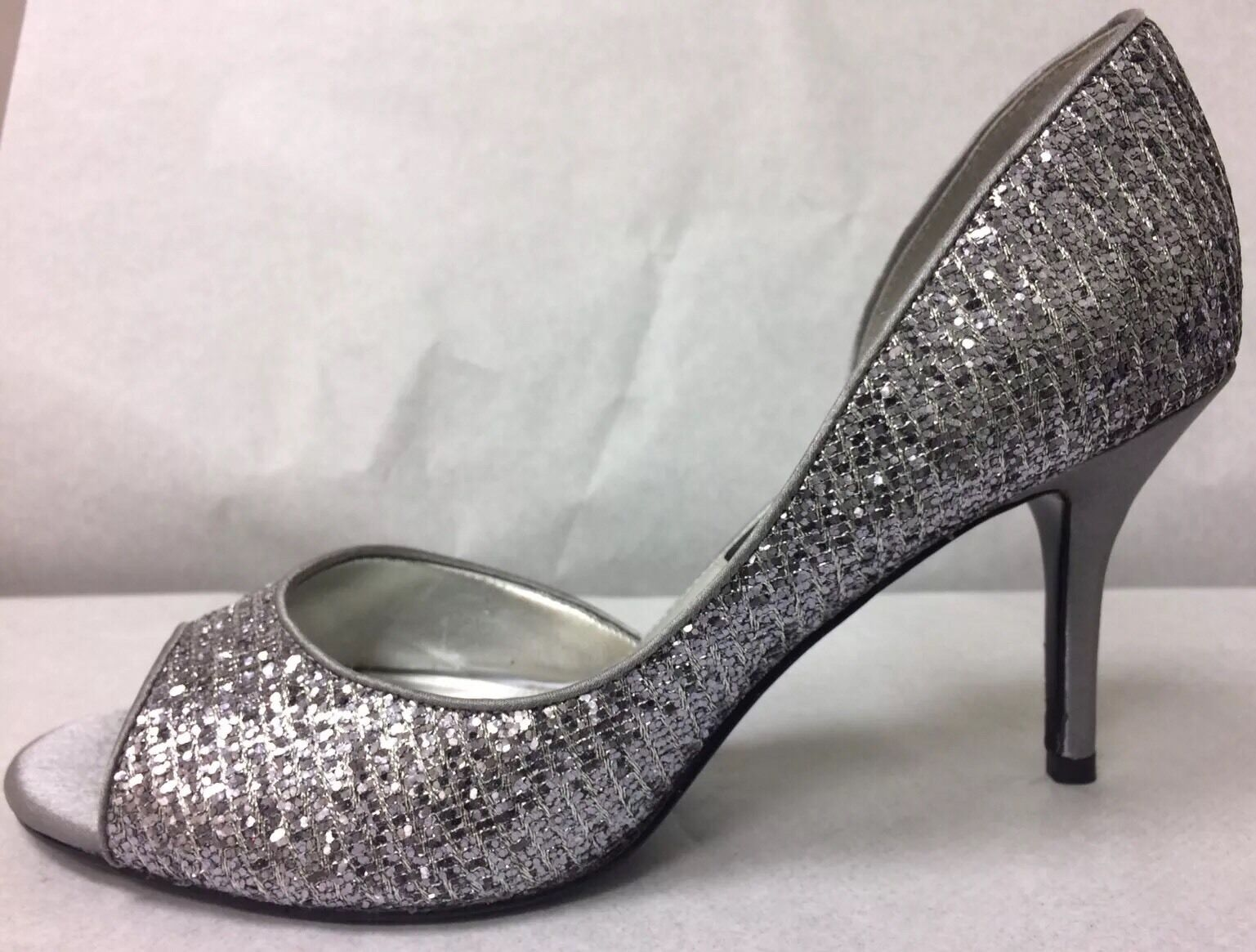 Nina Women's Toe Silver Glitter D'orsay Peep Toe Women's Pump Size 7.5M fe7e1c