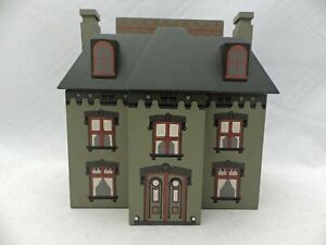 Winfield Designs - large, green, wooden Victorian House Coin Bank - signed 1988