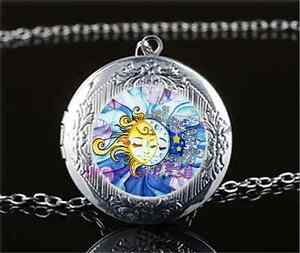 Sun and Moon Face Photo Cabochon Glass Dome Silver Chain Pendant Necklace