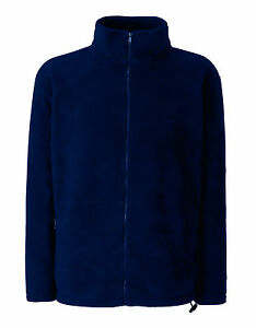 Fruit Of The Loom Plain NAVY BLUE Full Zip Fleece Jacket S-XXL | eBay