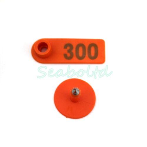 Goat Sheep Pig 201-300 Number Plastic Livestock Ear Tag With Orange Color
