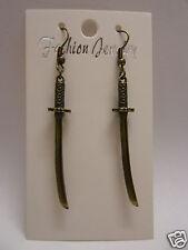 Small Antique Bronze Plated Japanese Samurai Sword Earrings