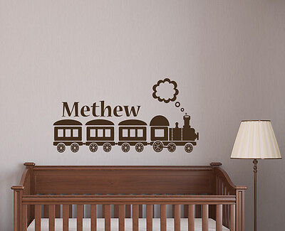 Name Wall Decals Personalized Decal Train Vinyl Sticker Kids Nursery Decor L580