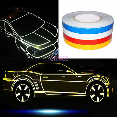 Blue1CM X 45M SAFETY REFLECTIVE TAPE ROLL STRIPE SELF-ADHESIVE FOR CARS//TRUCKS