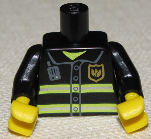 LEGO NEW BLACK FIREMEN MINIFIG TORSO WITH STRIPES PIECE