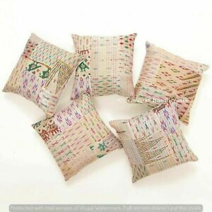 Set of 5 Beige Silk Patola Patchwork Cushion Cover Home Decor Boho Pillow Cases