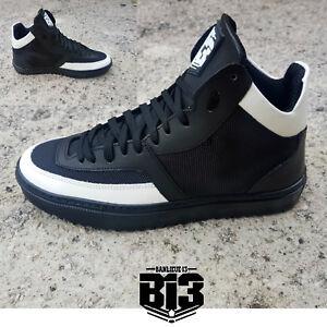 Scarpe-Uomo-Italy-Sneakers-Alte-Eco-Pelle-Nero-bianco-Lacci-Mod-BOX-Stivali-B13