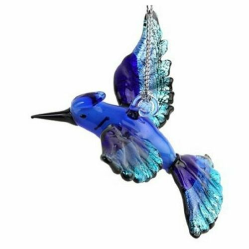 Glass Blue Jay Hanging Ornament