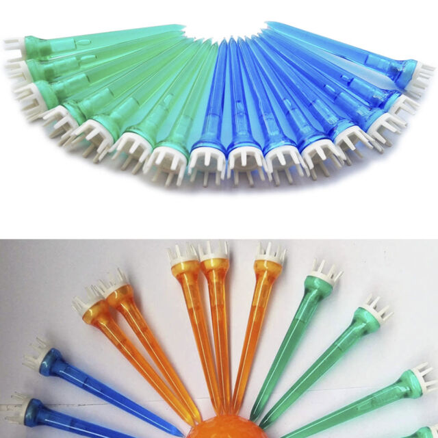 50pcs Mixed Color Plastic Crown Shape Claw Cushion Top Golf Tees 78mm FTuk