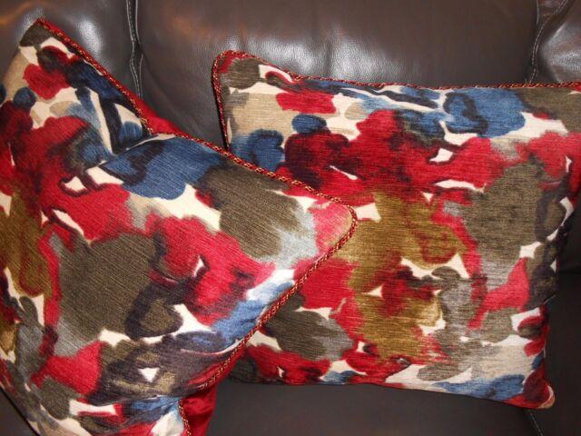 Designer Throw pillows Abstract Floral printed Velvet fabric Custom new PAIR
