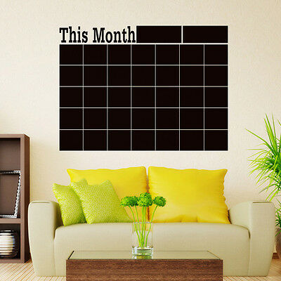 Monthly chalkboard Blackboard Removable Vinyl Wall Sticker Calendar Memo DIY