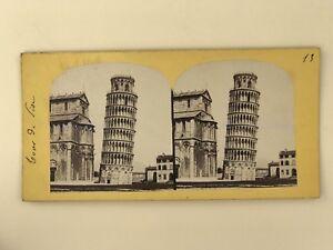 Torre Di Pisa Italia Foto Stereo Stereoview Vintage Albumina PL39L1