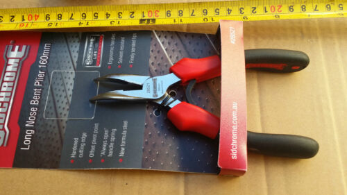 SIDCHROME Long nose bent Pliers,160mm, serrated jaws. Made in France. 28521