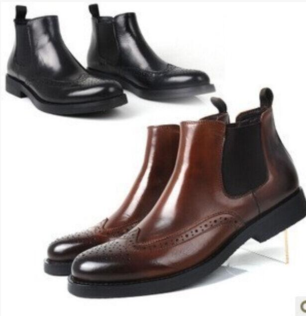 Classic Uomo Business Pelle Pointy Toe Formal Wingtip Scarpe Male Stivali Dress