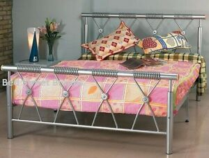 New Beautiful 3ft Single Silver Metal Bed Frame Mesh Base Double