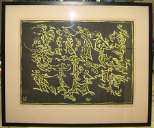 """Andre Masson '55 Surreal Abstract Aquatint """"Acteurs Chinois"""" Famous Surrealist"""