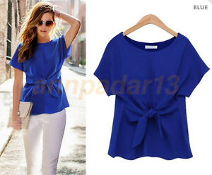 Women-039-s-Tie-T-shirt-Sexy-Short-Sleeve-Shirt-Casual-Tops-Summer-Blouse-Tank-Top