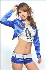 Sexy Moto Race Girl Racing Queen Blue Costume Set for Cosplay & Halloween Party