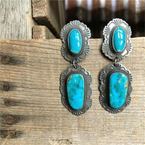 1 Paire Femme Vintage 925 Bijoux En Argent Turquoise Charme Boucle d/'oreille Pendentif Nouveau ~~!