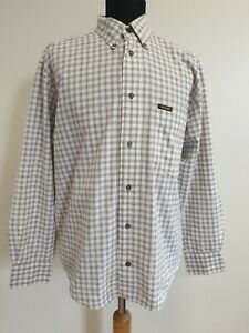 DD606-Hombre-Wrangler-Blanco-Marron-cheque-Loose-Fit-Algodon-L-Manga-Camisa-Uk-S-EU-46