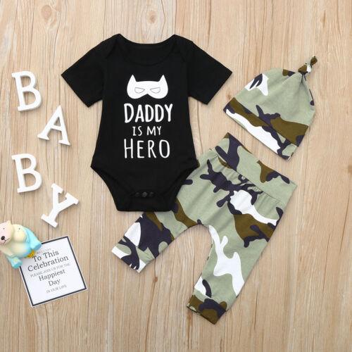 Newborn Infant Baby Boy Clothes Letter Cartoon Romper Tops+Camo Pants Outfit Set