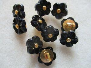 10PCS 11mm Black Flower Shank Button Plastic For DIY Craft Sewing Embellishments
