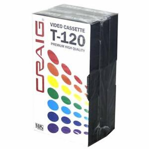 Craig CC358 Premium Blank T-120 VHS Video Tapes | 3-Pack.Recordable and Reusable